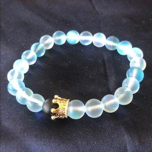 Mermaid glass quartz glowing aura bracelet- BLUE